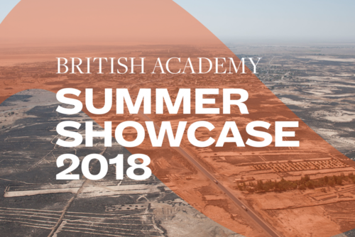 Summer Showcase 2018 translucent branding and typography over an image of Syrian agriculture
