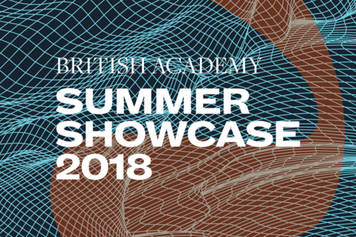 Summer Showcase 2018 translucent branding and typography over an image of a net of light blue waves over a dark background