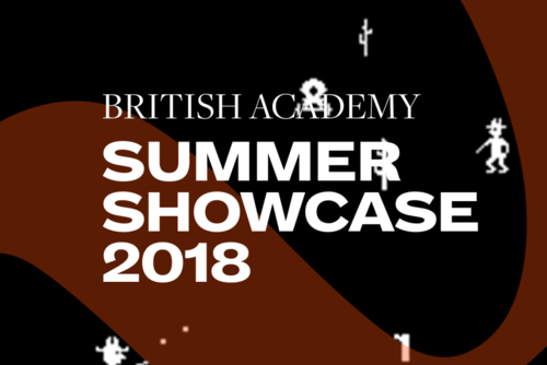 Summer Showcase 2018 translucent branding and typography over an image of white pixels depicting a game with a black background