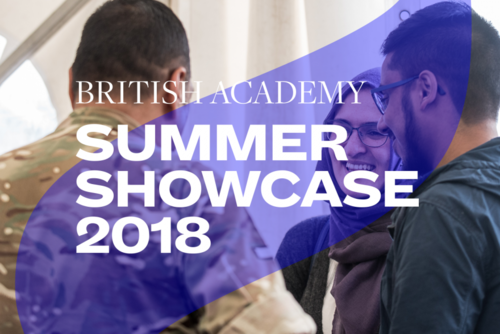 Summer Showcase 2018 translucent branding and typography over an image of two men and a woman talking