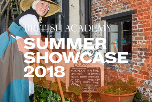 Summer Showcase 2018 translucent branding and typography over an image of a woman in period dress stood outside an apothecary