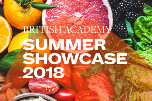 Summer Showcase 2018 translucent branding and typography over an image of various fruit