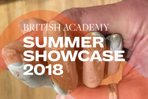 Summer Showcase 2018 translucent branding and typography over an image of a human hand showcasing a fake hand