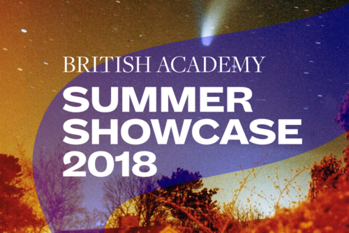 Summer Showcase 2018 translucent branding and typography over an image of a brightly lit night sky