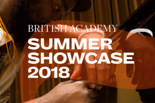 Summer Showcase 2018 translucent branding and typography over an image of a man leaning over a piano