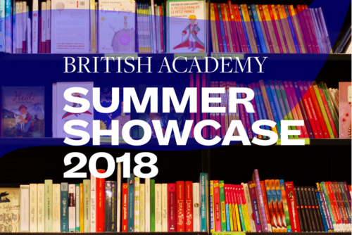 Alt text: Summer Showcase 2018 translucent branding and typography over an image of a full bookcase