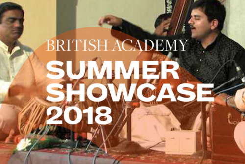 Summer Showcase 2018 translucent branding and typography over an image of three men playing instruments
