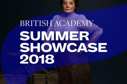 Summer Showcase 2018 translucent branding and typography over an image of a woman standing