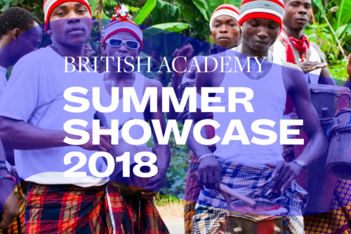 Summer Showcase 2018 translucent branding and typography over an image of six Nigerian men, five of them looking at the camera