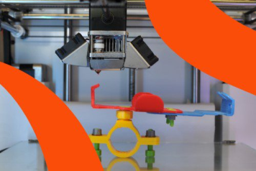Summer Showcase 2019 branding over an image of a 3D printing machine