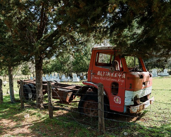 The red truck in the cemetery at Altinkaya. Photo by Koray Kalay and Ekin Kazan.