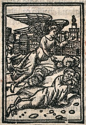 An angel appearing to a sleeping man. Woodcut. Credit: Wellcome Collection. CC BY