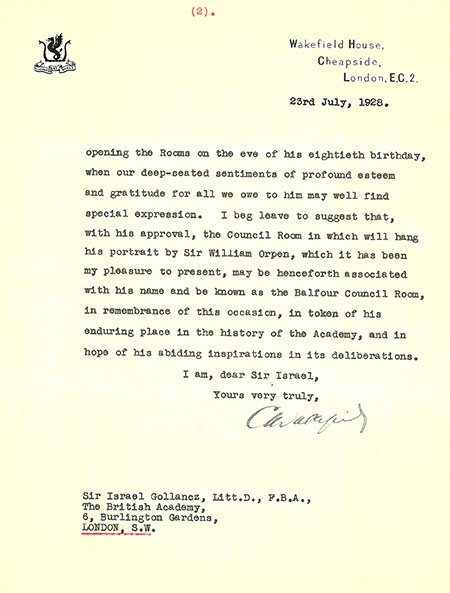 Charles Wakefield letter 1928, page 2 (BAR 21)