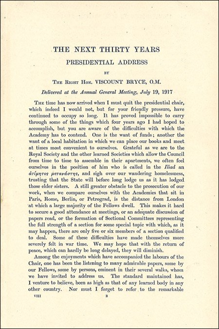 Bryce, Presidential Address 1917, first page