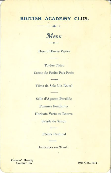 British Academy Dining Club menu card (BAR 31)