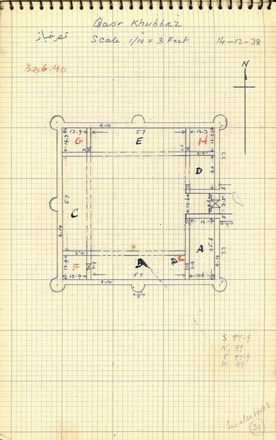Qasr_Khubbaz sketch plan (BAR 34, Aurel Stein article)
