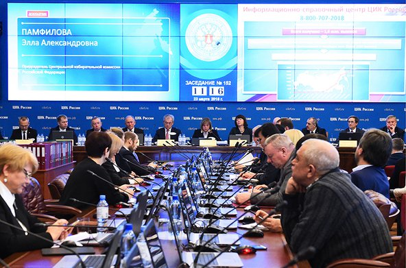 Russian Central Election Commission meeting on results of 2018 Russian presidential election.
