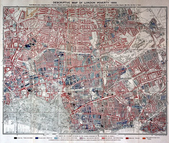 Charles Booth, Life and labour of the people in London. Map of London poverty, 1889. Image credit: Wellcome Collection, CC BY 4.0.