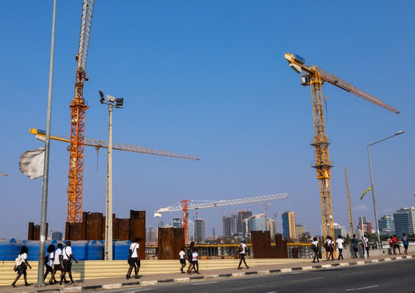 Cranes on a construction site, Luanda, Angola, July 2018. Photo by Eric Lafforgue / Art In All Of Us / Corbis via Getty Images