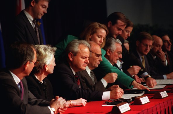 "The Dayton Accords paved the way for the signing of the final ""General Framework Agreement for Peace in Bosnia and Herzegovina"" on Dec. 14 at the Elysee Palace in Paris."