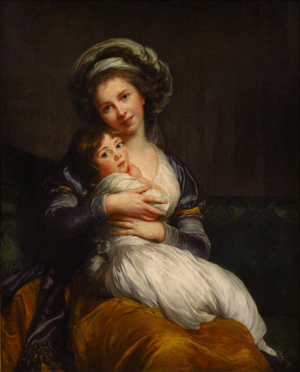 Self-portrait of Madame Vigée-Le Brun with her Daughter, Julie. Madame Vigée Le Brun's open-mouthed smile became a characteristic of her portraits after causing initial outrage in 1787.