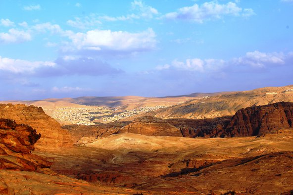 Petra and the city of Wadi Musa on the slopes of the Shara Mountains