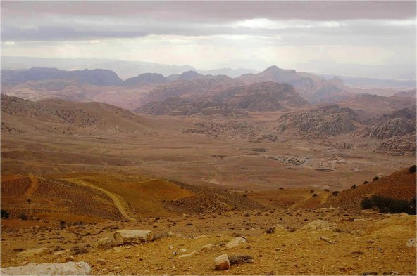 Petra seen from the top of the Shara Mountains