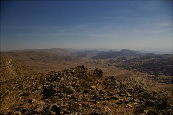Petra seen from the top of the Shara Mountains (from North)