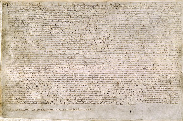 The Magna Carta (originally known as the Charter of Liberties) of 1215 was written in medieval Latin. Image credit: British Library via Wikimedia Commons.