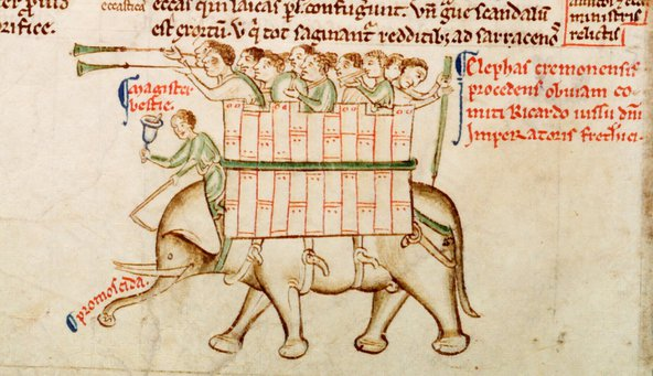 Elephant by Matthew Paris from Parker MS 16, fol 151v