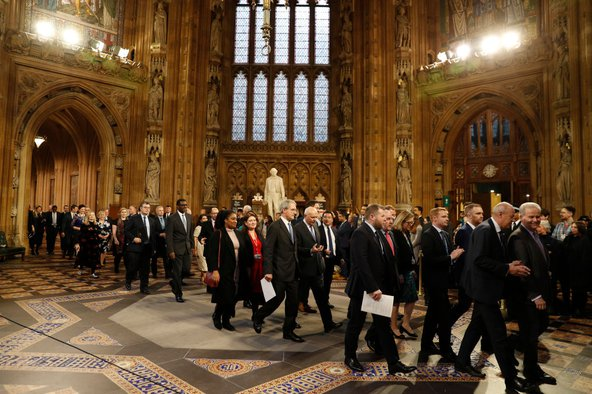 MPs leaving the State Opening of Parliament, December 2019. Photo by Adrian Dennis – WPA Pool / Getty Images