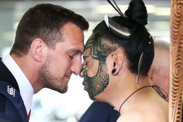 Captain Sam Warburton of the British & Irish Lions receives a hongi in welcome at Auckland International Airport