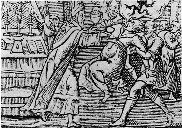 A woodcut from 1598 shows an exorcism performed on a woman by a priest and his assistant, with a demon emerging from her mouth