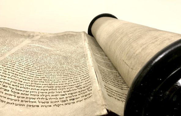 Close up of a Dead Sea scroll replica for the book of Isaiah