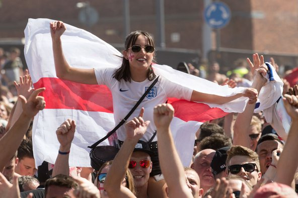 Football fans in Bristol watch England take on Sweden in the World Cup Quarter Finals on 7th July. Image credit: Matt Cardy / Getty Images.