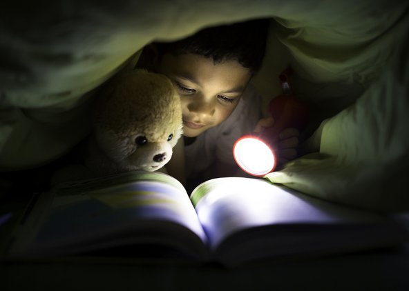 A boy reading a book in bed