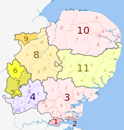 Map of East of England region