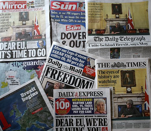 Front pages of UK newspapers on the day that British Prime Minister Theresa May triggered Article 50.