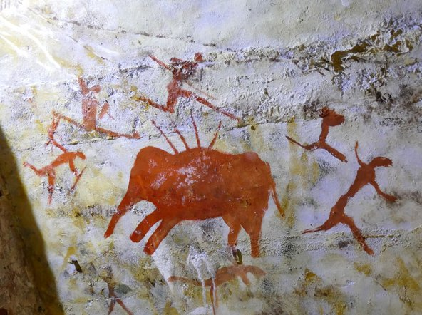 Cave painting of hunters found in the Cave of Altamira dating from the Upper Paleolithic period. Photo by: Universal History Archive/ UIG via Getty Images.