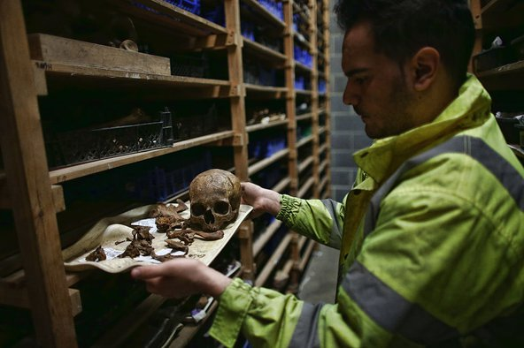 Human remains were excavated during the Crossrail construction work at the site of the Bedlam burial ground in Liverpool Street. Photo by Carl Court/Getty Images.